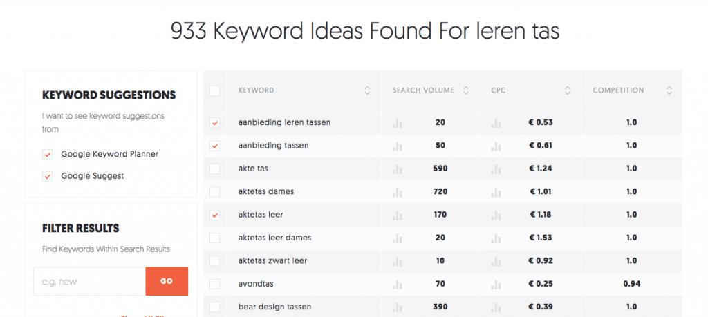 zoekwoorden bepalen met ubersuggest